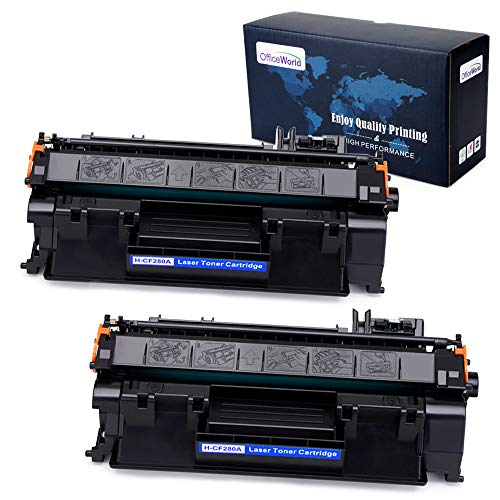OfficeWorld Compatible Toner Replacement for HP 80A CF280A for HP Laserjet Pro 400 M401n M401dne M425dn M401dw M401dn M425dw (Black, 2-Pack) (Hp 80a Black Original Laserjet Toner Cartridge)