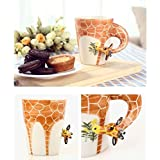 Ainest Lovely 3D Animal Ceramic Hand Painted Coffee Milk Mug Cup Deco Creative Gifts Giraffe