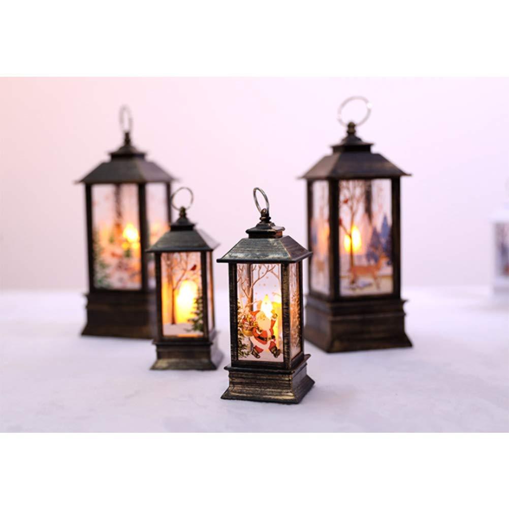Hanging Snowflake Lamp Funciona con Pilas para la decoraci/ón de la Fiesta de Navidad en Interiores y Exteriores 5 5 BovoYa Christmas LED Lantern Retro Lantern with LED Lighting 13CM