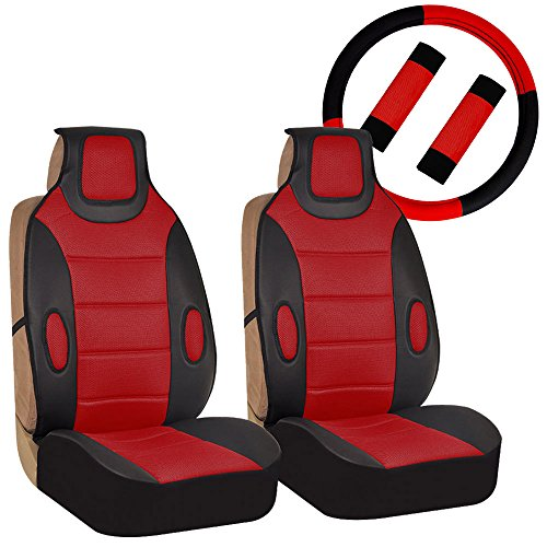 FH Group FH-FB202102 Pair set Leatherette Seat Cushion Pads with Fabric 3D Airmesh with Steering Wheel and Seat Belt Pads, Red/Black ()
