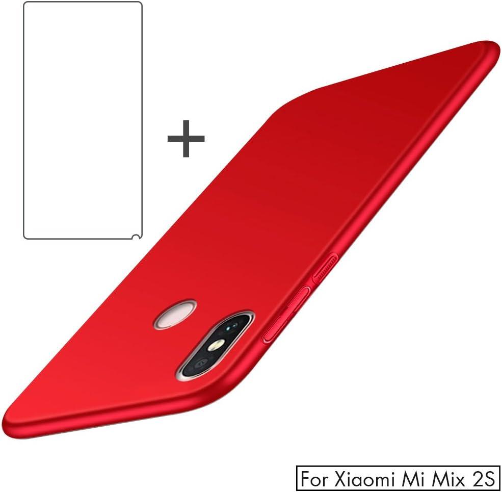 Cristal Templado y Dura Cover para Xiaomi Mix 2s Azul Sensaci/ón de Seda BLUGUL Funda Xiaomi Mi Mix 2s Protector de Pantalla Totalmente Protector Ultra Delgado