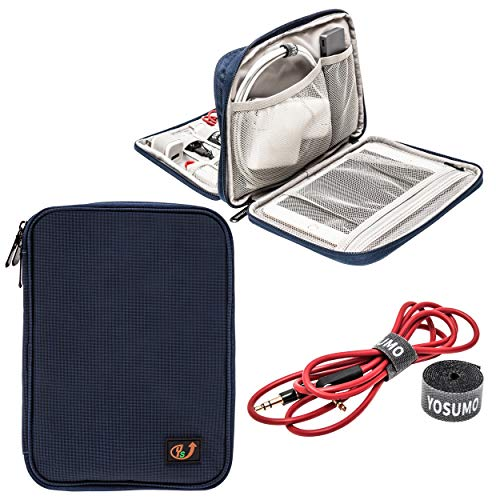 YOSUMO Electronic Travel Organizer with Cable Straps, Case for Cords, USB, iPad mini, Kindle, Computer Charger and Small…