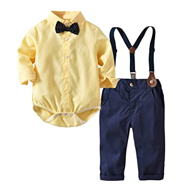 fb25d9edb Moyikiss Studio Baby Boy Gentleman Outfit Long Sleeve Shirt with Bowtie  Suspender Pants Casual Suit (