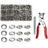 200 Sets 9.5mm Grommets Snap Fasteners Kit Metal Prong Hollow Snap Rings Buttons Leather Rivets Press Studs with Fastener Pliers Press Tool Kit