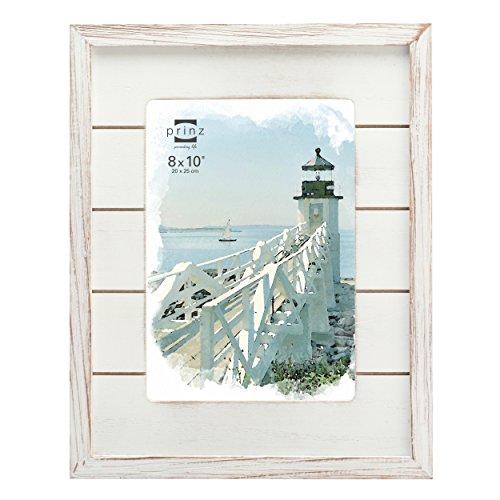 "Prinz Seaside Wood Plank Frame, 8 x 10"", White"