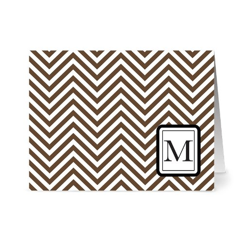 (Modern Chevron 'M' Chocolate Monogram - 24 Cards - Blank Cards w/ Grey Envelopes Included )