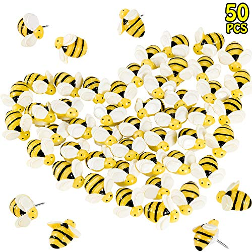 50 Pieces Bee Pushpins Cute Bees Thumb Tacks Decorative Thumbtacks for Feature Wall, Whiteboard, Corkboard, Photo Wall, Maps or Bulletin Board