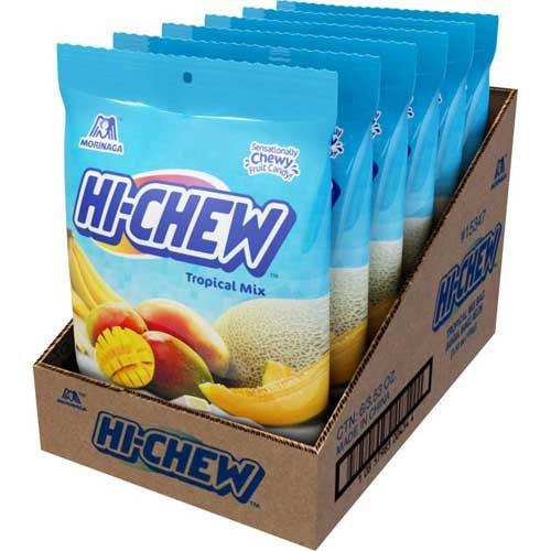 Hi Chew Banana Mango and Melon Tropical Mix Candy, 3.53 Ounce Bag - 6 per case.
