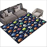 Bath Rug Space Futuristic Science Fiction Comic Planet Spaceships Androids Rockets UFO Illustration Super Absorbent mud W6' x L7'10 Multicolor