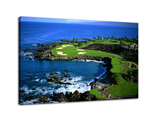 AMEMNY Modern Golf Course Landscape Painting Canvas Wall Art Posters and Clear Water Bule Sky Landscape Artwork HD Prints Pictures Decor for Living Room Framed Stretched Ready to Hang(36