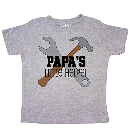 inktastic - Papa's Little Helper Toddler T-Shirt 4T Heather Grey 1c167