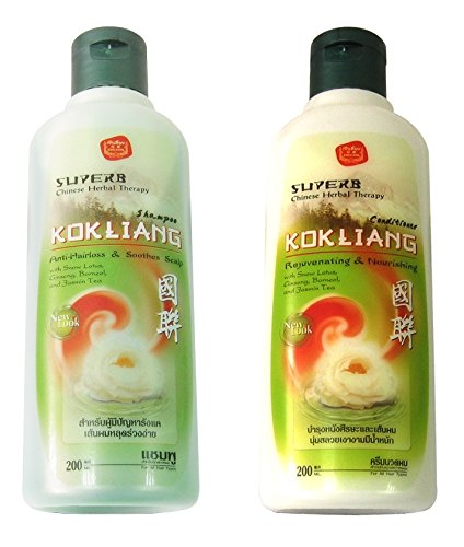 Kokliang Chinese Herbal Anti-Hair Loss & Soothes Scalp Pack of Shampoo (6.76 Oz) & Conditioner (6.76 Oz) Ship with Tracking Number