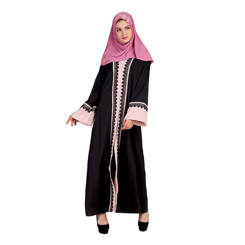 Women Loose Casual Fit Maxi Dress Ethnic Style Trumpet Sleeve O-neck Lace Stitching Embroidery Loose Shift Dress Ankle Length (L, Pink)