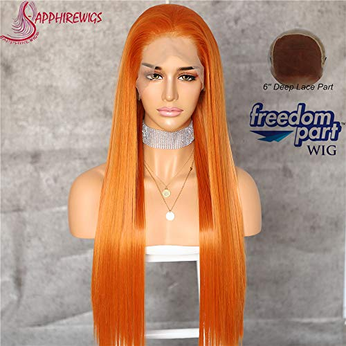 Sapphirewigs Orange Color Kanekalon Futura Hair No-Tangle Natural Hairline 6''×13'' Deep Big Lace Freedom Part Daily Makeup Women Wedding Hair Synthetic Lace Front Wigs