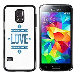 Paccase / SLIM PC / Aliminium Casa Carcasa Funda Case Cover para - White Minimalist Love Blue Text You - Samsung Galaxy S5 Mini, SM-G800, NOT S5 REGULAR!