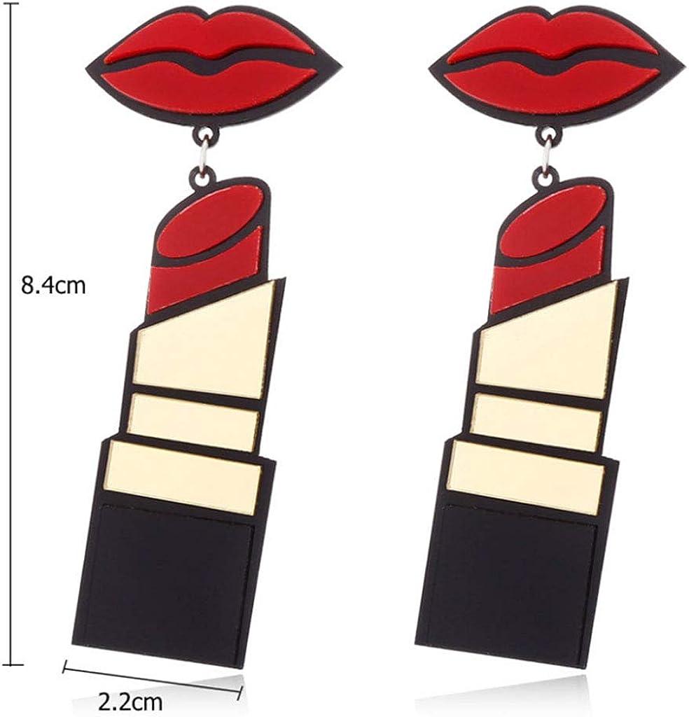 GUANGJIE Acrylique Boucles Doreilles Femmes Bijoux L/èvres Rouge /À L/èvres Punk Style Balancent Mode Longue Baisse
