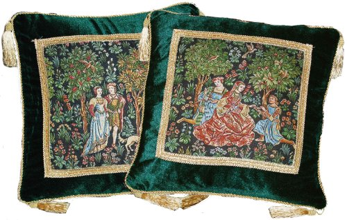 Scenes Gallantes Medieval Tapestry - The Noble Picture Cushion/pillow Cover Jacquard Woven (Tapestry Angels Two)