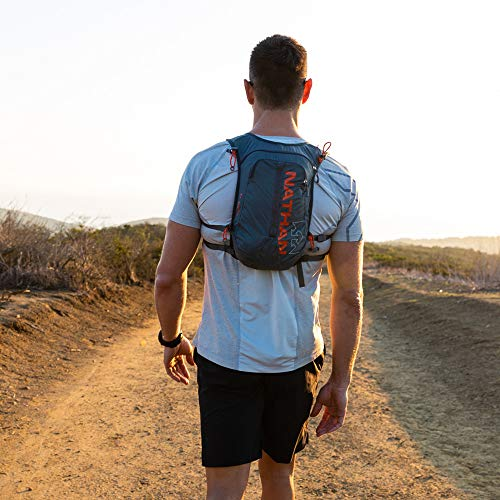 Nathan TrailMix Running Vest/Hydration Pack. 7L (7 Liters) for Men and Women | 2L Bladder Included (2 liters). Zipper, Phone Holder, Water (Charcoal/Steel Grey/Cherry Tomato, One Size Fits Most) by Nathan (Image #3)