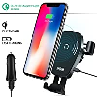 Car Wireless Charger, EHOOM Air Vent Phone Holder for iPhone 8, 8 Plus, iPhone X, Samsung Galaxy S9, S9+, S8, S8+, S7 Edge, Note 8, Note 5, Compatible with Qi-enabled Devices, Car Charger included