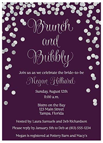 Brunch and Bubbly Bridal Shower Invitations Confetti Wedding Party Invites Rehearsal Dinner Anniversary Party Customize Cards Champagne Purple Silver Glitter (10 Count)