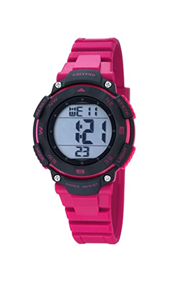 Calypso - Reloj Digital Unisex con dial de LCD Pantalla Digital y Rosa Correa de plástico K5669/2: CALYPSO: Amazon.es: Relojes