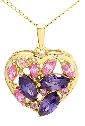 Marquise Cluster Pendant (Jewel Zone US Marquise and Round Simulated Purple Amethyst Cluster Heart Pendant in 14k Yellow Gold Over Sterling Silver)