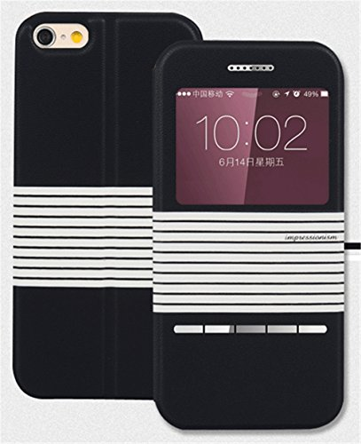 Comsoon(TM) Fashion Shockproof Case for iPhone 6 Plus Case [SLIDE SERIES] [Smart Case] Cover Leather Folio Flip Case with [Kickstand] Shell For Apple iPhone 6 5.5 Case Smart [Slide Answer] Case (Black)