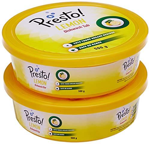Amazon Brand   Presto! Dishwash Tub Bar with Free Scrub Pad   500 g  Pack of 2