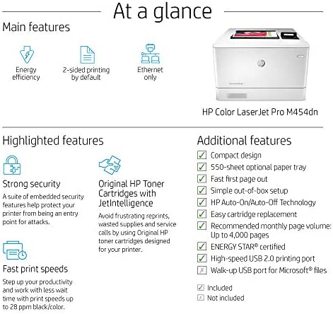 HP Color LaserJet Pro M454dn Printer, Double-Sided Printing & Built-in Ethernet, Works with Alexa (W1Y44A)