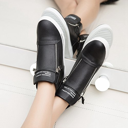 Sneakers Alte Da Donna Con Zeppa Alta - Scarpe Da Stivale Con Tacco Nascoste Rialzate A Punta Tonda Nere