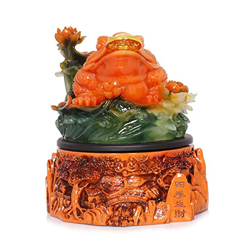 GYFHMY Feng Shui Money Frog (Three Legged Wealth Or Toad) Statue Good Luck Charms Toad Attract Fortune and Resin Toad Wealth Frog Figure on Base Decoration Chan Chu