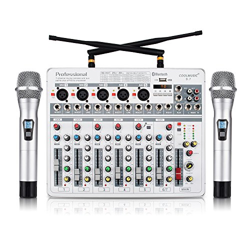 Coolmusic D7 7 Channel DJ Bluetooth Audio Sound Mixer 16 DSP with 2 UHF Microphone