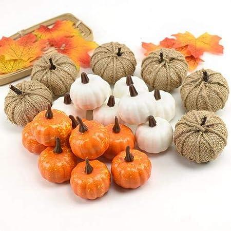 Amazon De Eruditter Halloween Kurbis Dekoration 22 Stuck Kunstliche Weiss Gelb Leinen Kurbis Tisch