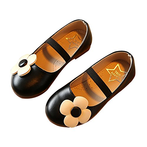 T-JULY Girls Cute Flower Princess Shoes with Elastic Strap Non-Slip Mary Jane Shoes (Toddler/Little Kid) Black ()