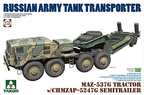 TAK05004 1:72 Takom MAZ-537G Tractor with CHMZAP-5247G Semi-Trailer Russian Army Tank Transporter [Model Building KIT]