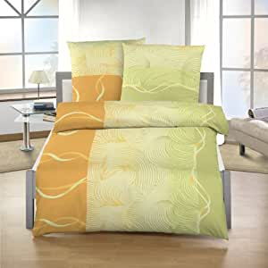 Dobnig-Juego de ropa de cama (2piezas. Verde de amarillo de naranja estampado 17613-607Edredón 80x 80cm/135x 200cm