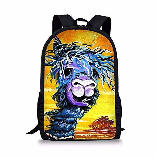 Sahara Desert Llama Alpaca Print Kids School Backpack for Elementary Girl Boy ()
