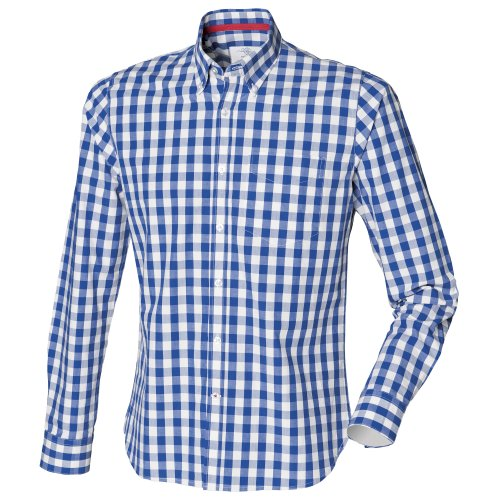 front-row-mens-checked-casual-cotton-shirt-l-blue-check