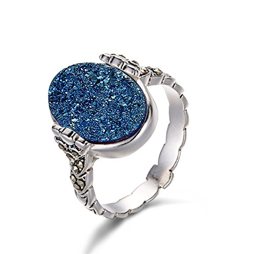ShinyJewelry Oval Shape Natural Druzy Agate Stone 925 Silver Women Rings (Blue) - Blue Quartz Ring