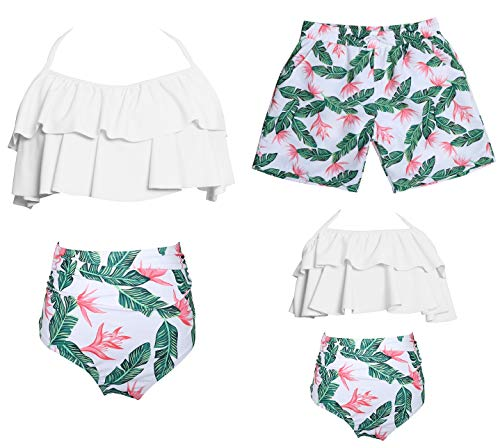 Ababalaya Mommy and Me Matching Family Swimsuits Mother and Daughter Bikini Bathing Suit Beachwear Sets, White top-Green Flower, Girl, 5-6 Years