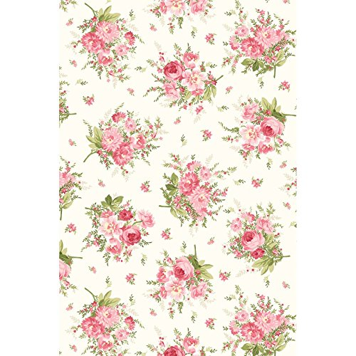 Heather~Floral Bouquet on White 8392-E Cotton Fabric by Maywood Studio