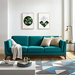 Farmhouse Living Room Furniture Modway Chance Mid-Century Modern Upholstered Fabric Sofa In Teal farmhouse sofas and couches