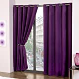 Purple Thermal Blackout Supersoft Eyelet Ring Top Ready Made Curtains (66 Wide x 72 Drop) by Amethyst