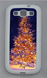 Lit Christmas Tree In Snow TPU Silicone Rubber Case Cover for Samsung Galaxy S3 SIII I9300 White