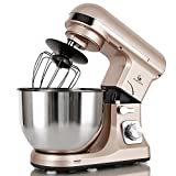 : MURENKING Professional Stand Mixer MK37A 500W 5-Qt Bowl 6-Speed Tilt-Head Food Electric Mixer Kitchen Machine,Plastic (Champagne)