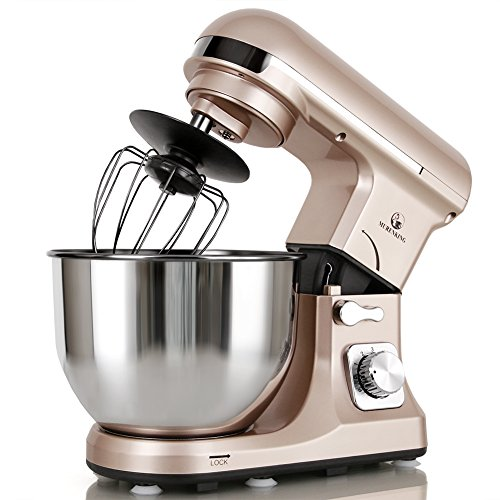 (MURENKING Professional Stand Mixer MK37 500W 5-Qt Bowl 6-Speed Tilt-Head Food Electric Mixer Kitchen Machine,Plastic (Champagne))