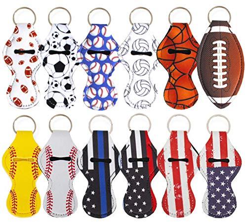 Chapstick Holder Keychain, 12 Pieces Different Neoprene Lip Balm Keychain Holder (8 Sports+4 Flag)