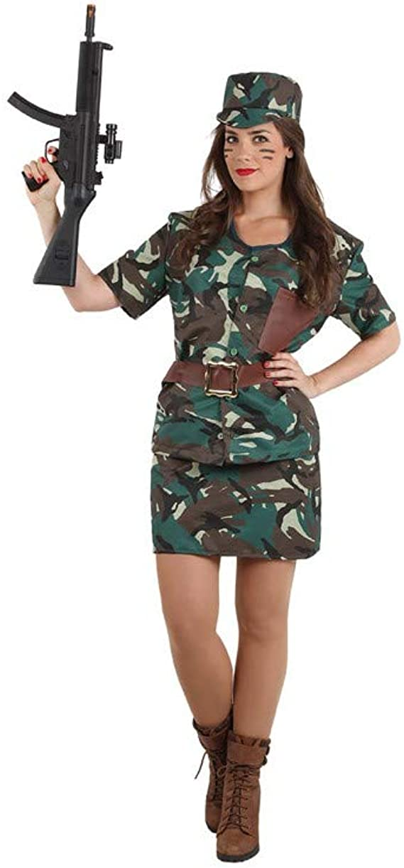 Disfraces FCR - Disfraz militar mujer talla 44: Amazon.es: Ropa y ...
