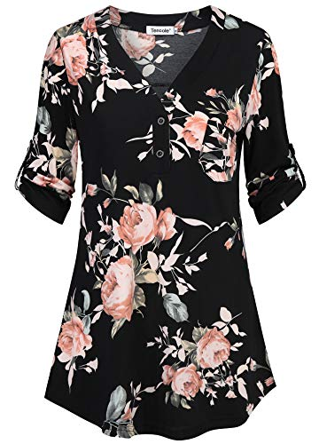 Tencole Womens Tops and Blouses,3/4 Sleeve Plus Size Dressy Tunic Tops for Leggings Stretchy Pattern Printed Tunic Shirts Modern Designer Clothing Tiered Trapeze Sweatshirt Work Fall Wear M Black Pink