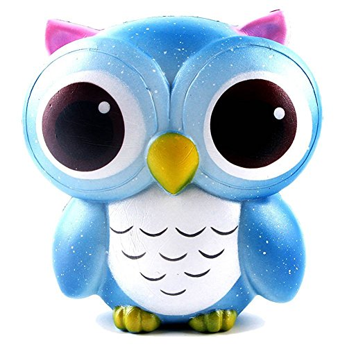 ZURILEE Kawaii Jumbo Slow Rising Owl Squishies Toy | Cute Stress Relieving Cream Scented Animal Squishy Simulation Squeeze Toy for Kids and Adults | Adorable Galaxy Owl Squishy in Packaging, 1PC (Watch Baby Seal)